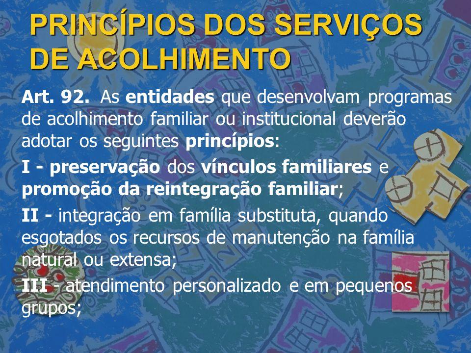 PRINCÍPIOS DOS SERVIÇOS DE ACOLHIMENTO