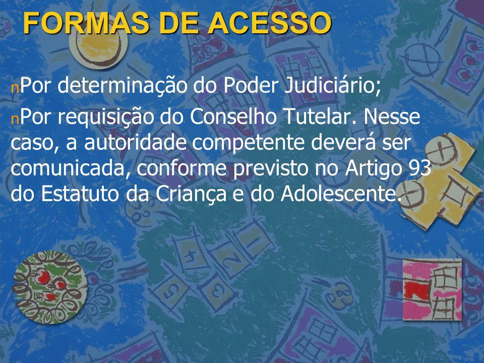 FORMAS DE ACESSO Por determinação do Poder Judiciário;