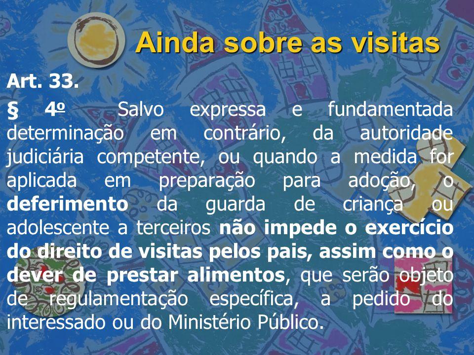 Ainda sobre as visitas Art. 33.