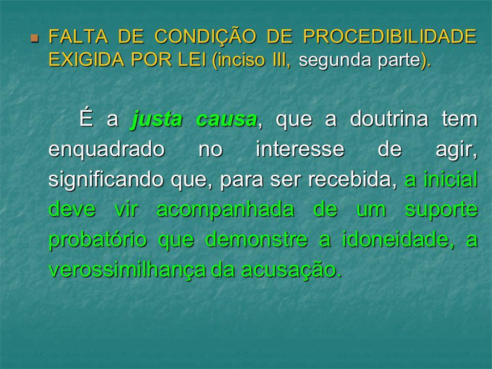 FALTA DE CONDIÇÃO DE PROCEDIBILIDADE EXIGIDA POR LEI (inciso III, segunda parte).