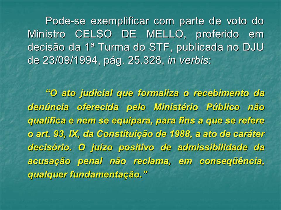 Pode-se exemplificar com parte de voto do Ministro CELSO DE MELLO, proferido em decisão da 1ª Turma do STF, publicada no DJU de 23/09/1994, pág. 25.328, in verbis: