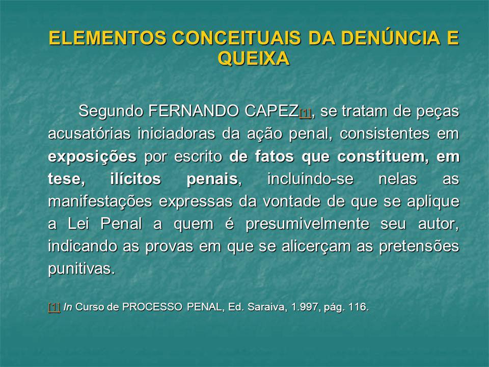 ELEMENTOS CONCEITUAIS DA DENÚNCIA E QUEIXA