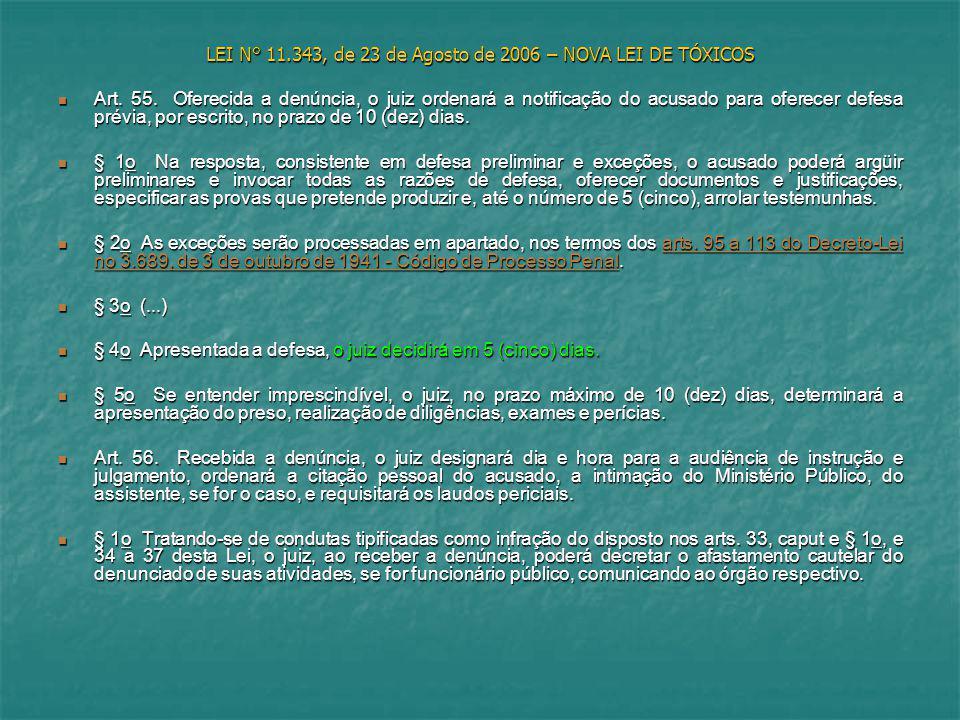 LEI N° 11.343, de 23 de Agosto de 2006 – NOVA LEI DE TÓXICOS