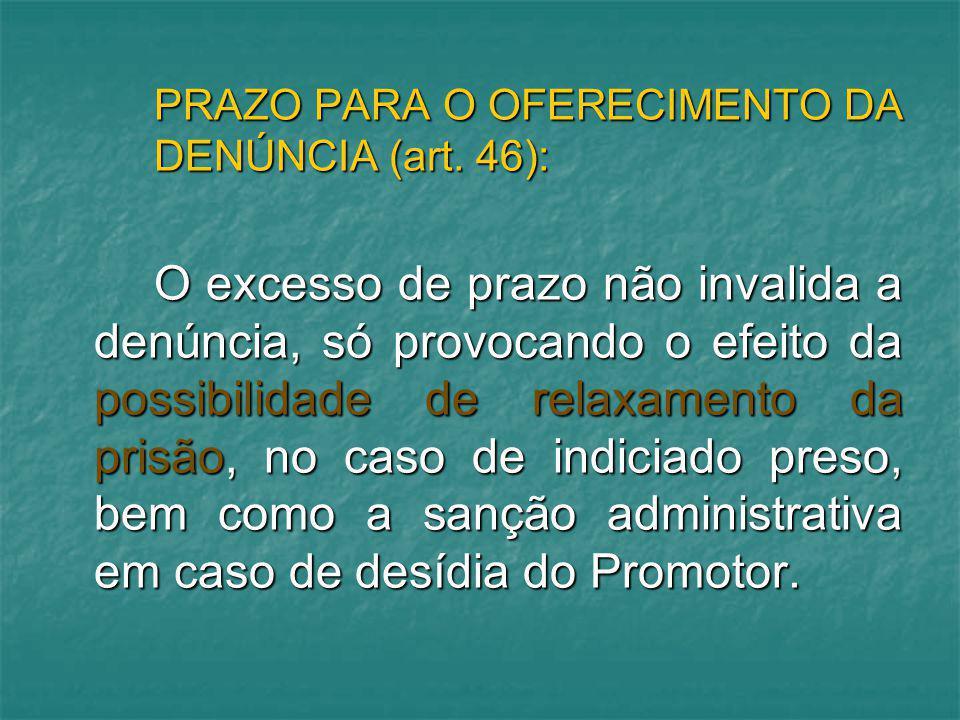 PRAZO PARA O OFERECIMENTO DA DENÚNCIA (art. 46):
