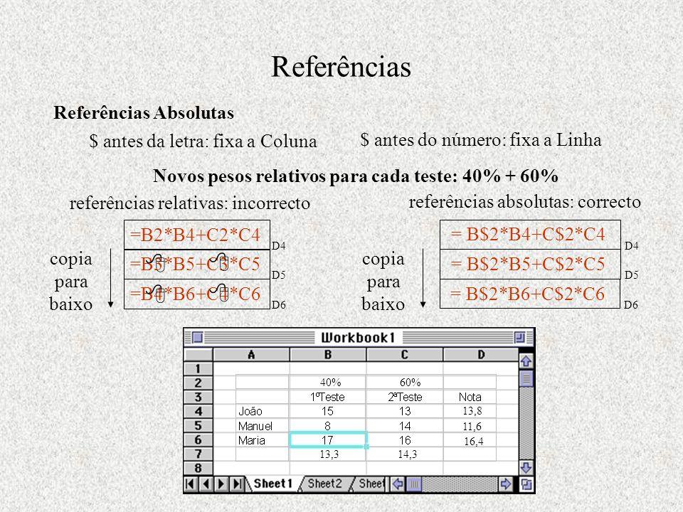 Referências  Referências Absolutas $ antes da letra: fixa a Coluna