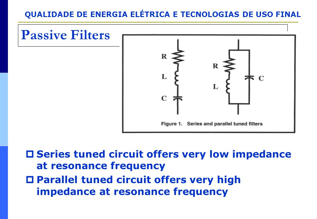 Passive Filters Series tuned circuit offers very low impedance at resonance frequency.