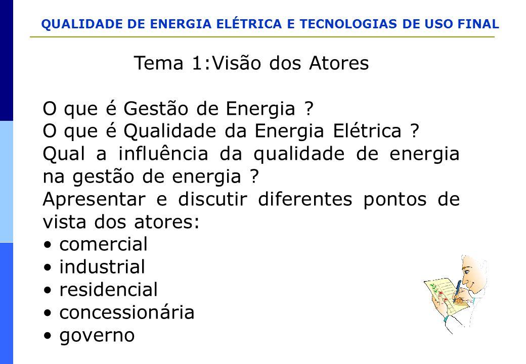 Tema 1:Visão dos Atores O que é Gestão de Energia O que é Qualidade da Energia Elétrica