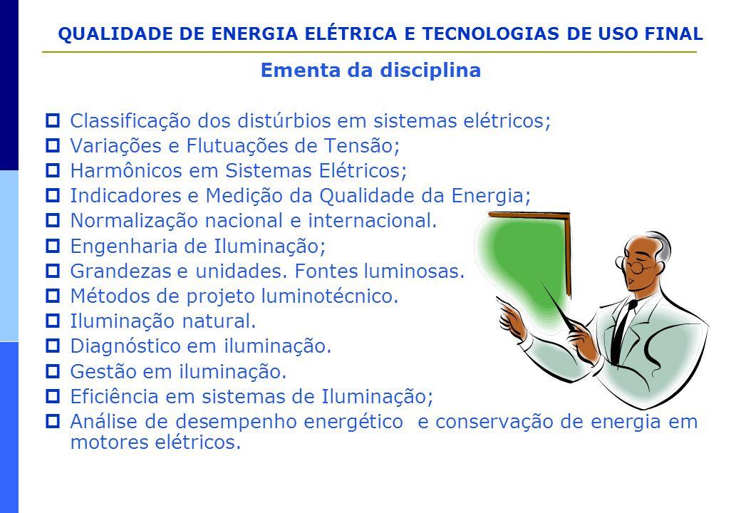 Ementa da disciplina Classificação dos distúrbios em sistemas elétricos; Variações e Flutuações de Tensão;
