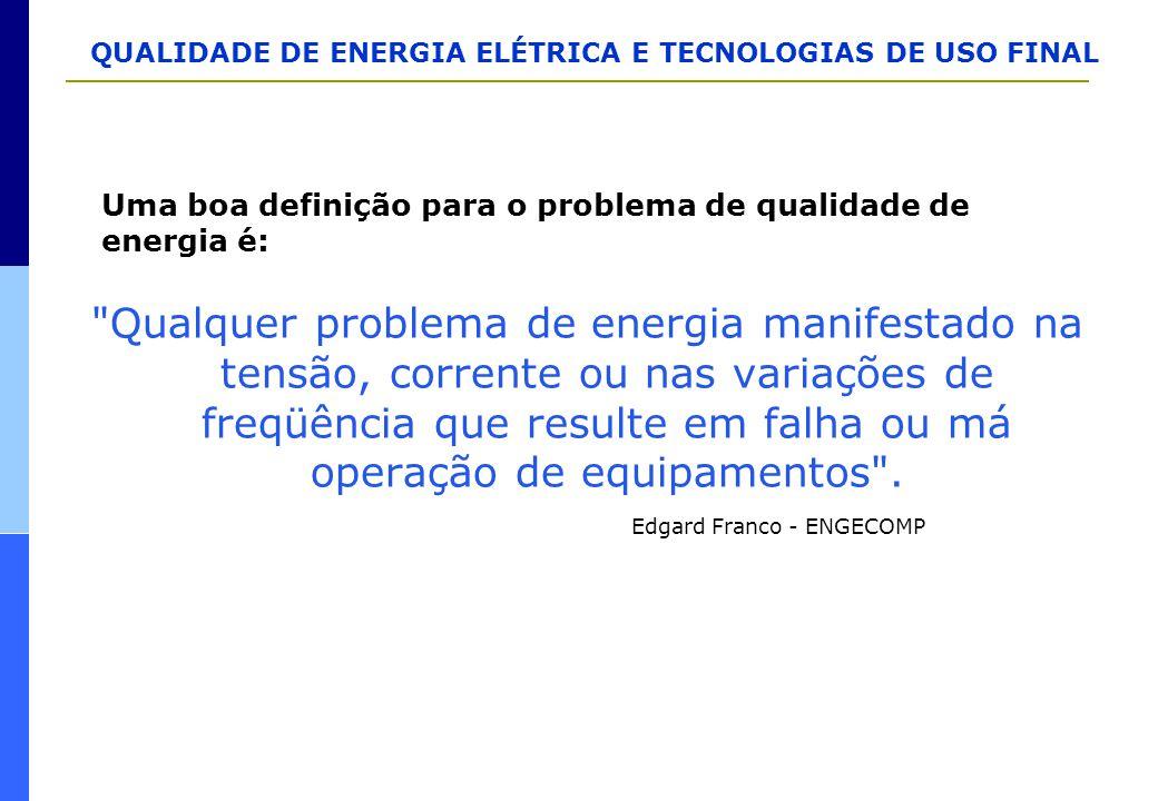 Uma boa definição para o problema de qualidade de energia é: