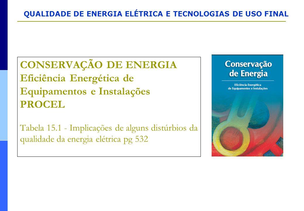 CONSERVAÇÃO DE ENERGIA Eficiência Energética de Equipamentos e Instalações PROCEL Tabela 15.1 - Implicações de alguns distúrbios da qualidade da energia elétrica pg 532