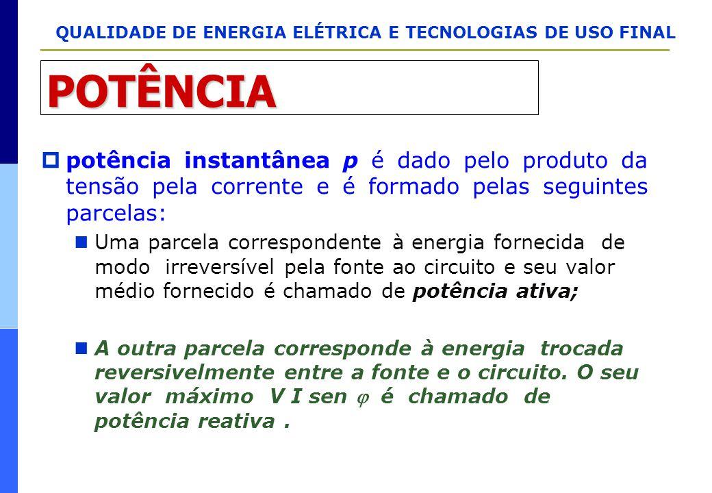 POTÊNCIA potência instantânea p é dado pelo produto da tensão pela corrente e é formado pelas seguintes parcelas: