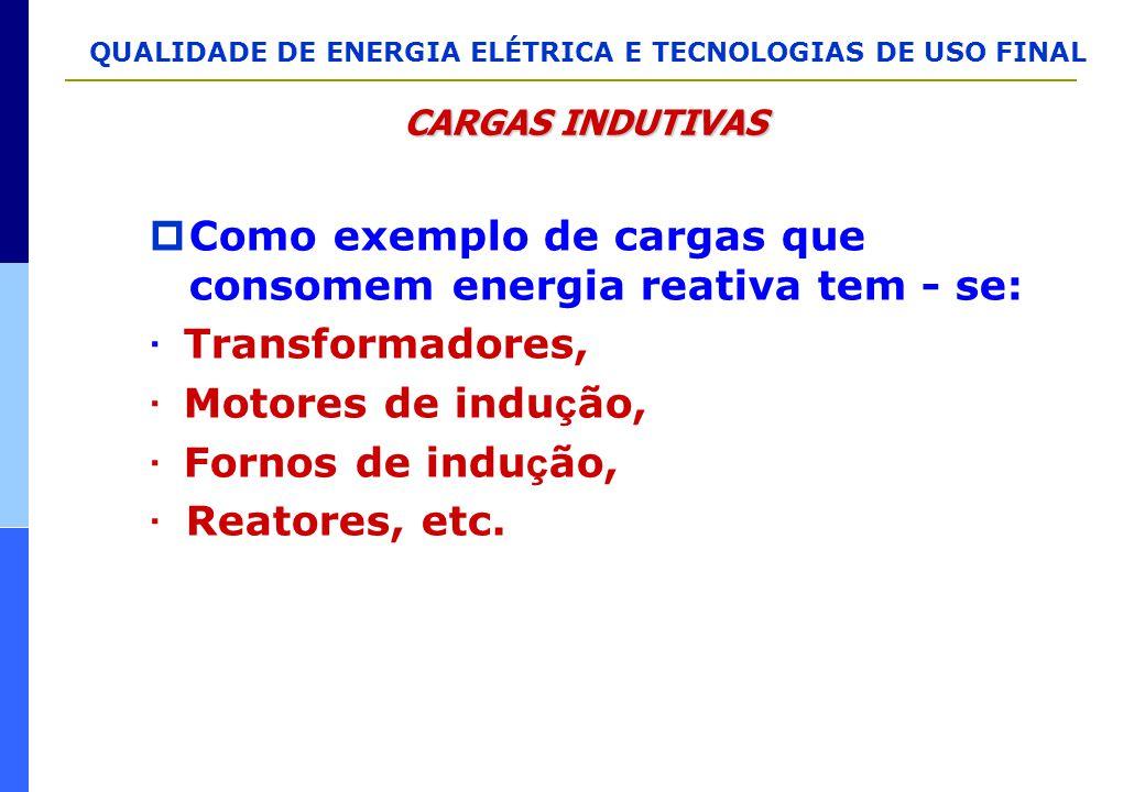 Como exemplo de cargas que consomem energia reativa tem - se: