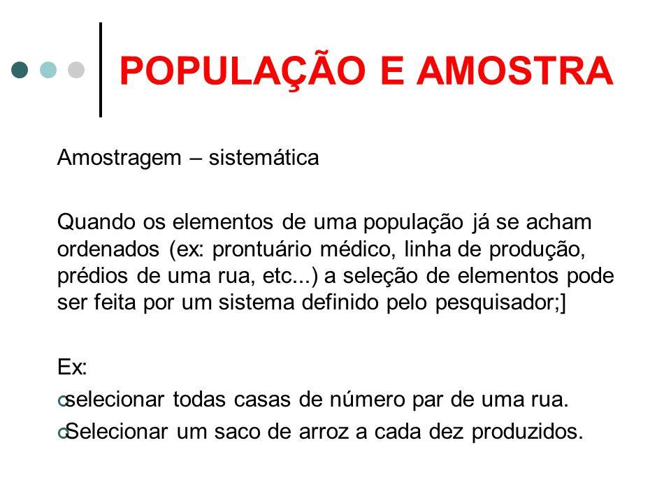 POPULAÇÃO E AMOSTRA Amostragem – sistemática