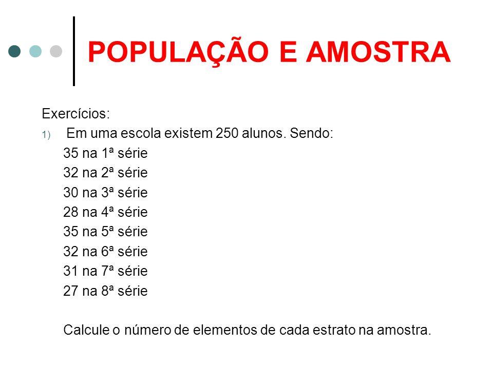 POPULAÇÃO E AMOSTRA Exercícios: