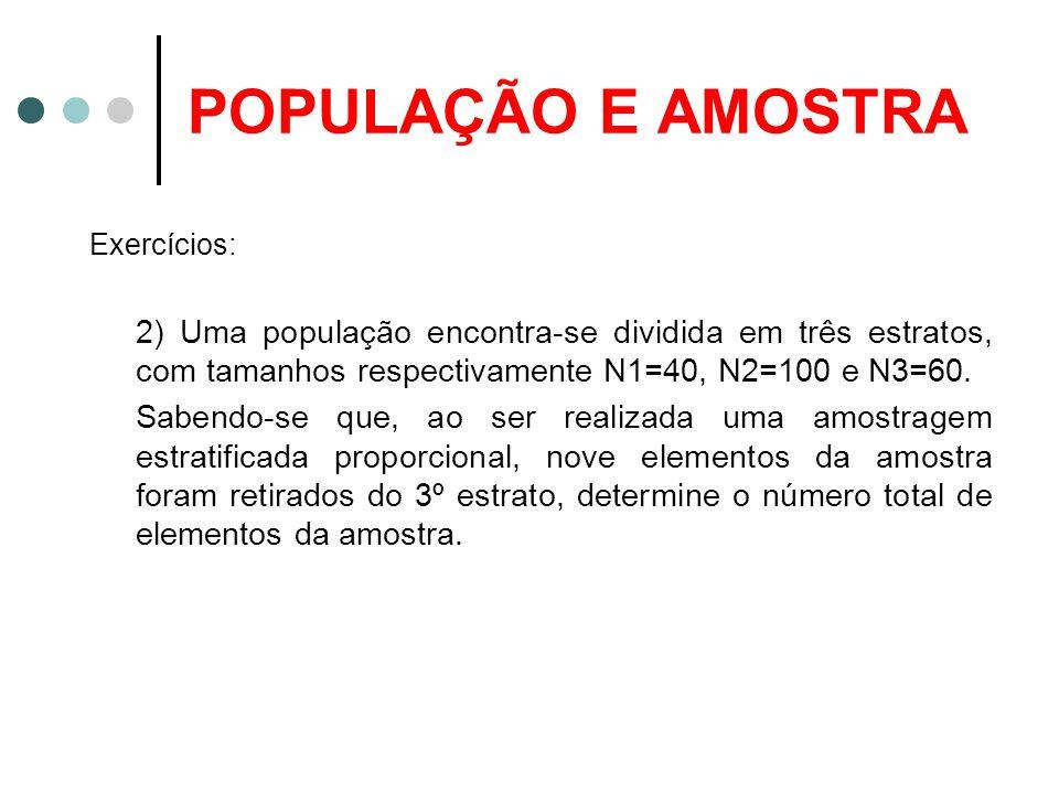 POPULAÇÃO E AMOSTRA Exercícios: 2) Uma população encontra-se dividida em três estratos, com tamanhos respectivamente N1=40, N2=100 e N3=60.