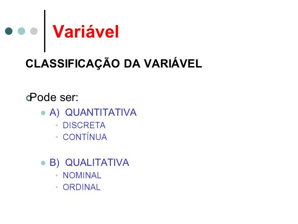 Variável CLASSIFICAÇÃO DA VARIÁVEL Pode ser: A) QUANTITATIVA