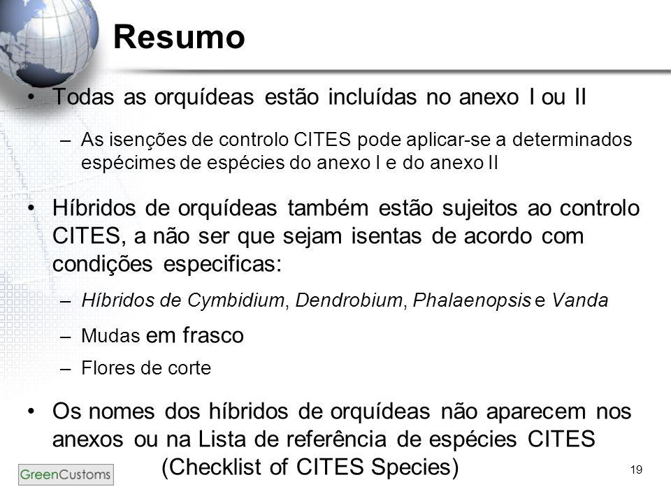 Resumo Todas as orquídeas estão incluídas no anexo I ou II