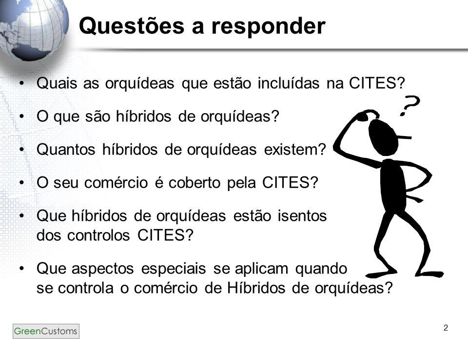 Questões a responder Quais as orquídeas que estão incluídas na CITES