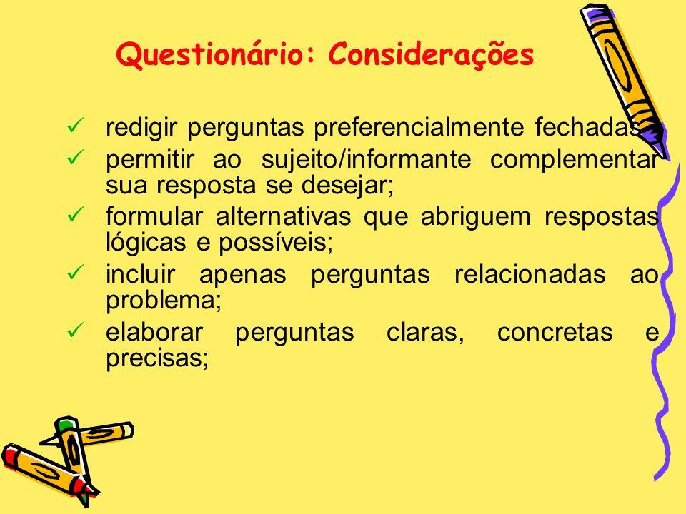 Questionário: Considerações