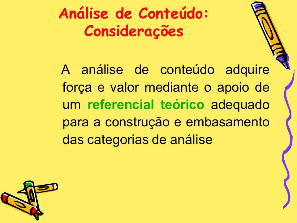 Análise de Conteúdo: Considerações
