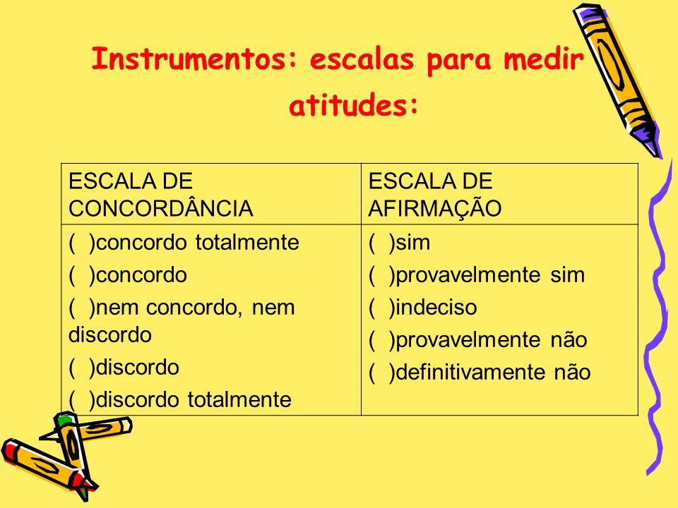 Instrumentos: escalas para medir atitudes: