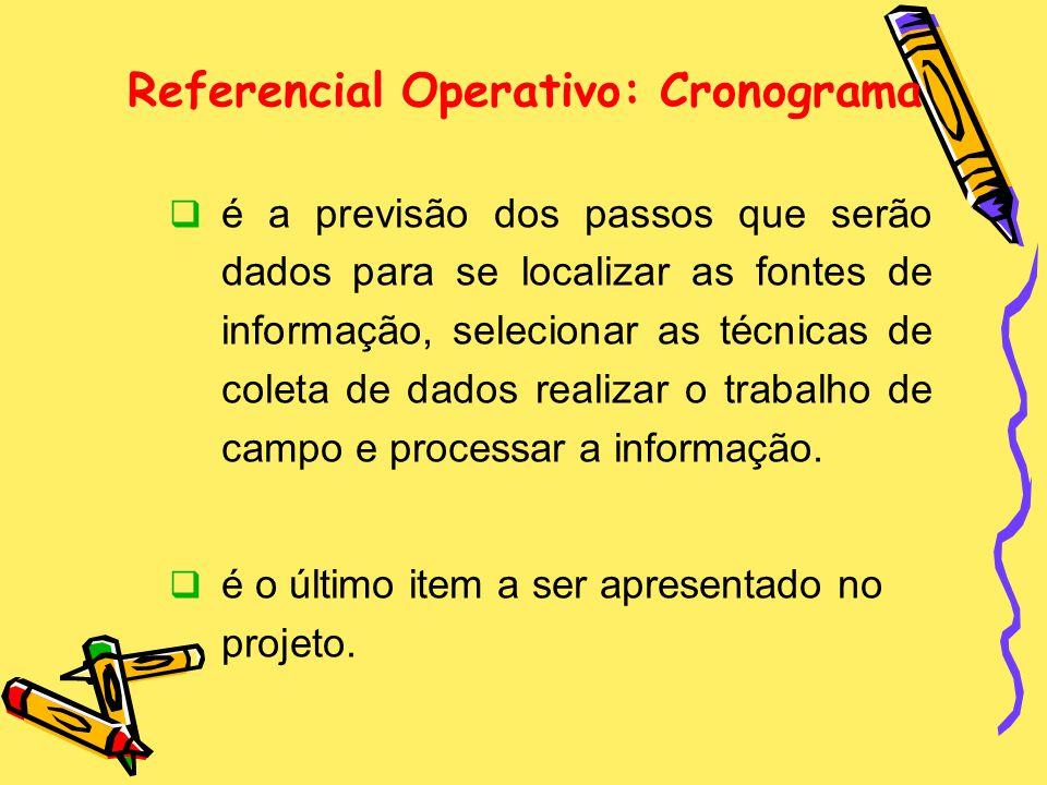Referencial Operativo: Cronograma