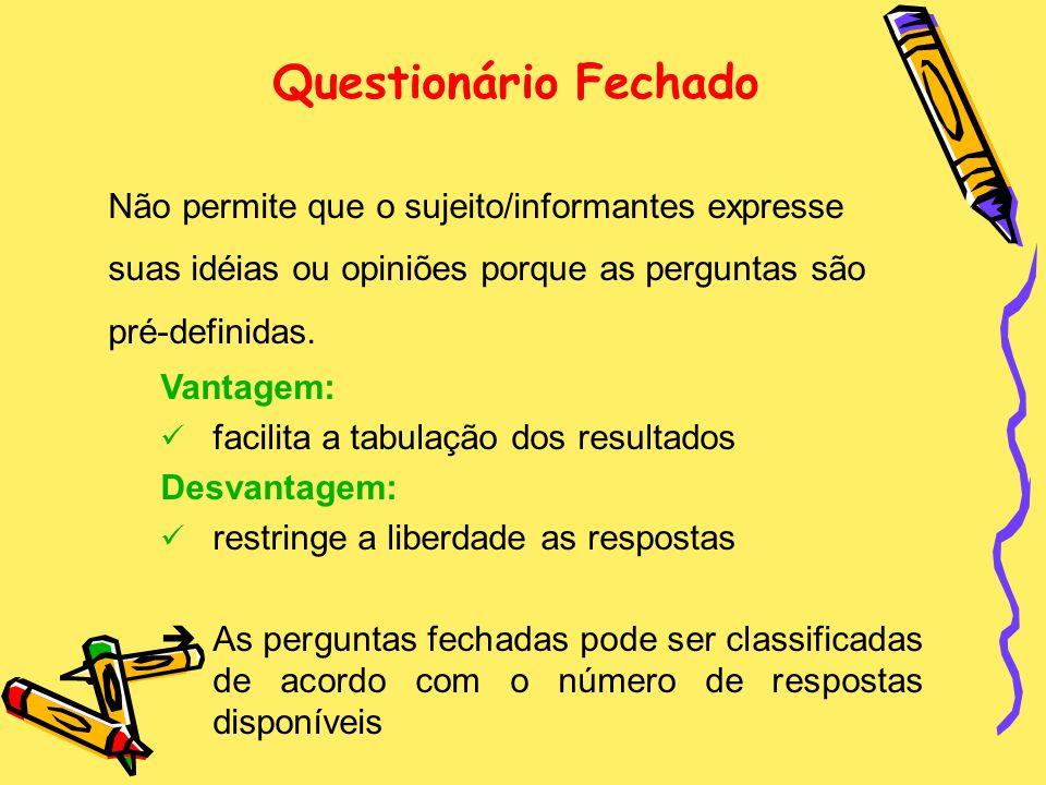 Questionário Fechado Não permite que o sujeito/informantes expresse