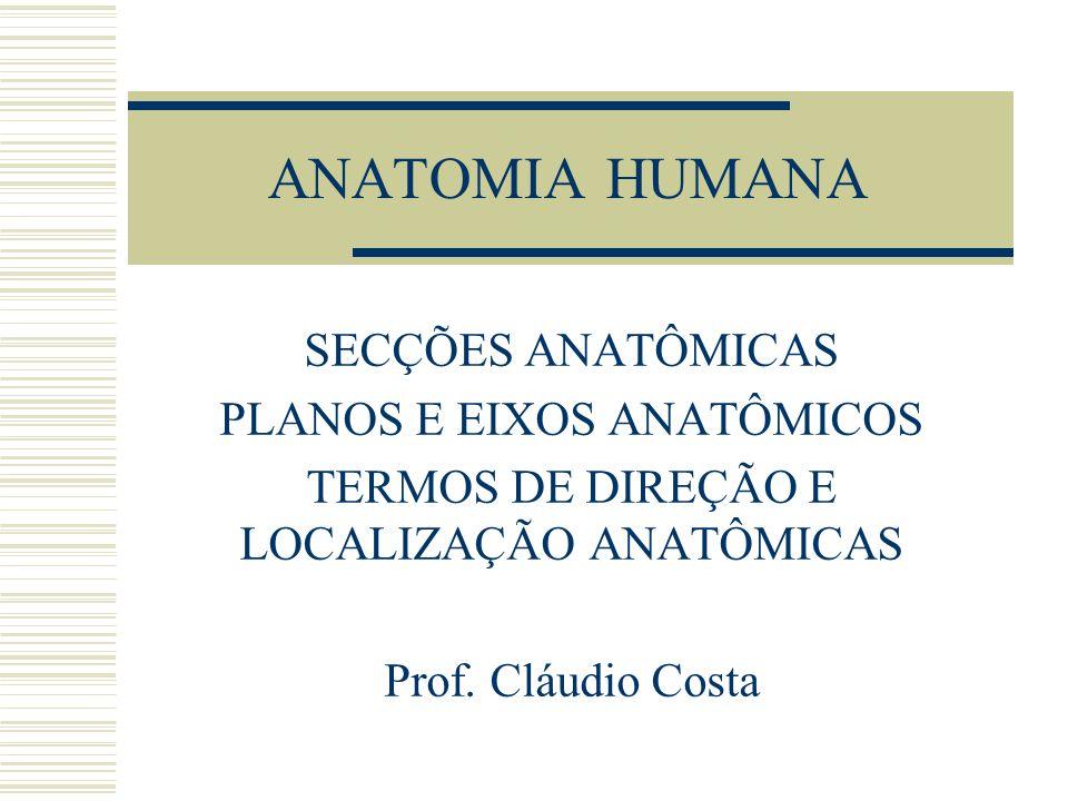 ANATOMIA HUMANA SECÇÕES ANATÔMICAS PLANOS E EIXOS ANATÔMICOS