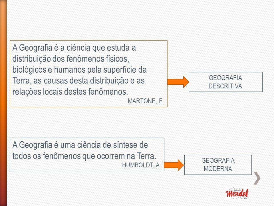 A Geografia é a ciência que estuda a distribuição dos fenômenos físicos, biológicos e humanos pela superfície da Terra, as causas desta distribuição e as relações locais destes fenômenos.