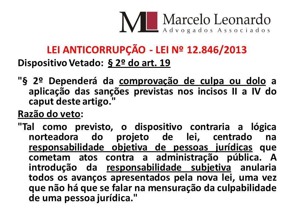 LEI ANTICORRUPÇÃO - LEI Nº 12.846/2013