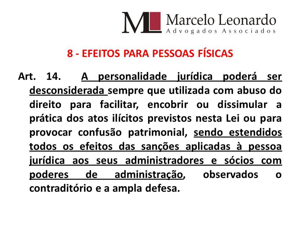 8 - EFEITOS PARA PESSOAS FÍSICAS Art. 14