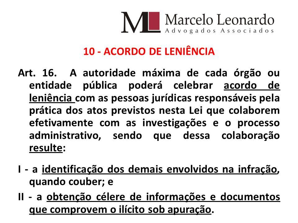 10 - ACORDO DE LENIÊNCIA Art. 16