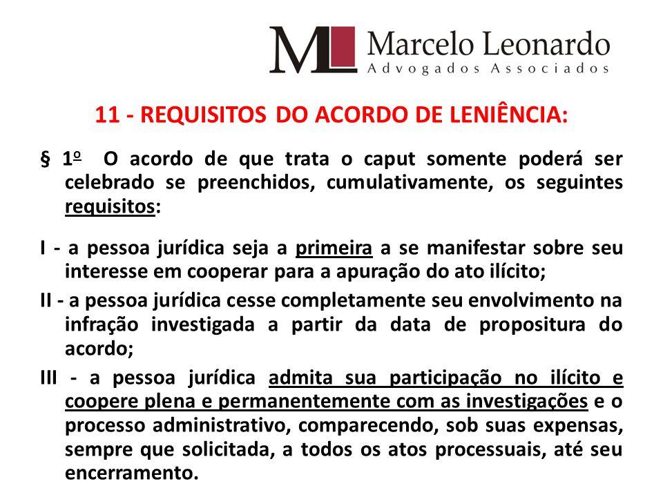 11 - REQUISITOS DO ACORDO DE LENIÊNCIA: