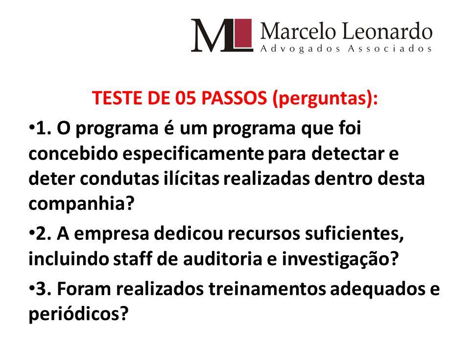TESTE DE 05 PASSOS (perguntas):