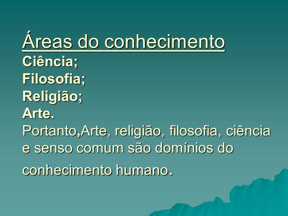 Áreas do conhecimento Ciência; Filosofia; Religião; Arte
