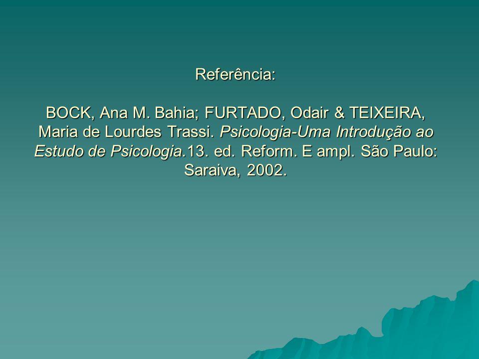 Referência: BOCK, Ana M. Bahia; FURTADO, Odair & TEIXEIRA, Maria de Lourdes Trassi.