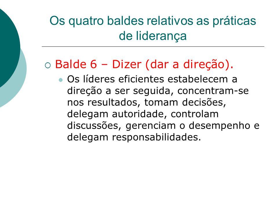 Os quatro baldes relativos as práticas de liderança