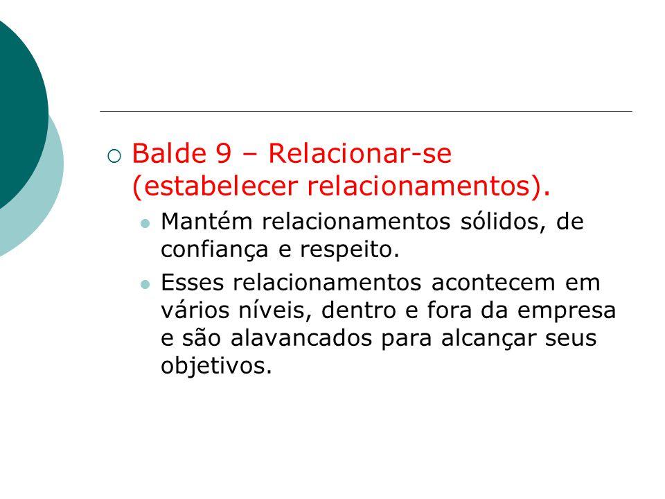 Balde 9 – Relacionar-se (estabelecer relacionamentos).