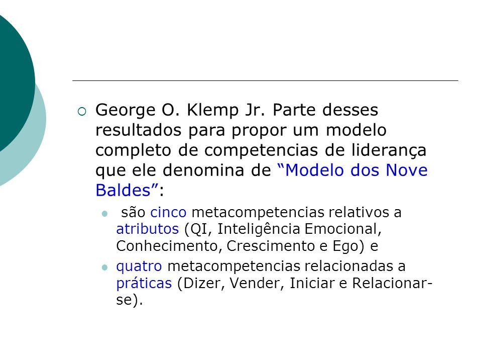 George O. Klemp Jr. Parte desses resultados para propor um modelo completo de competencias de liderança que ele denomina de Modelo dos Nove Baldes :