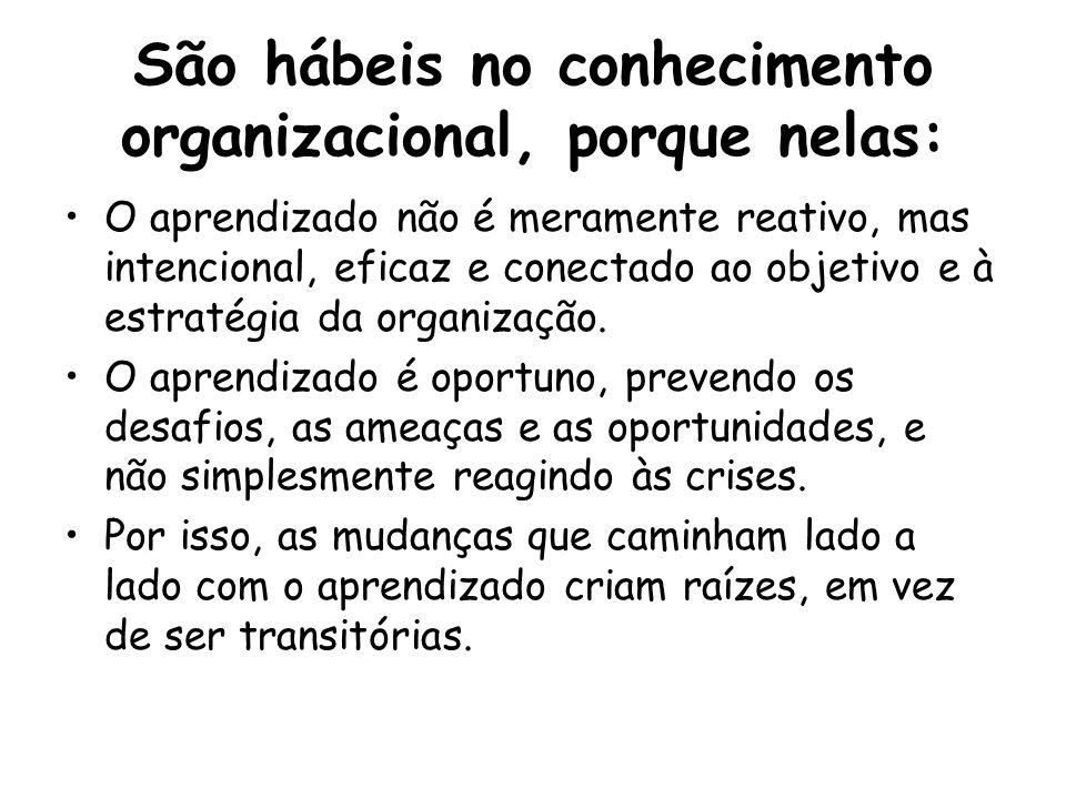 São hábeis no conhecimento organizacional, porque nelas: