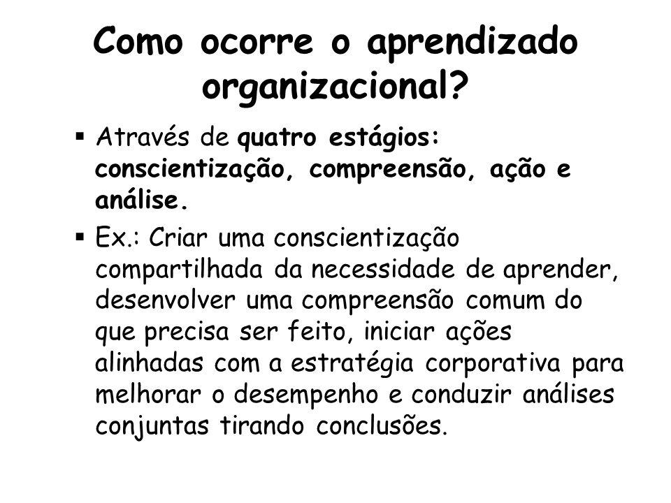 Como ocorre o aprendizado organizacional