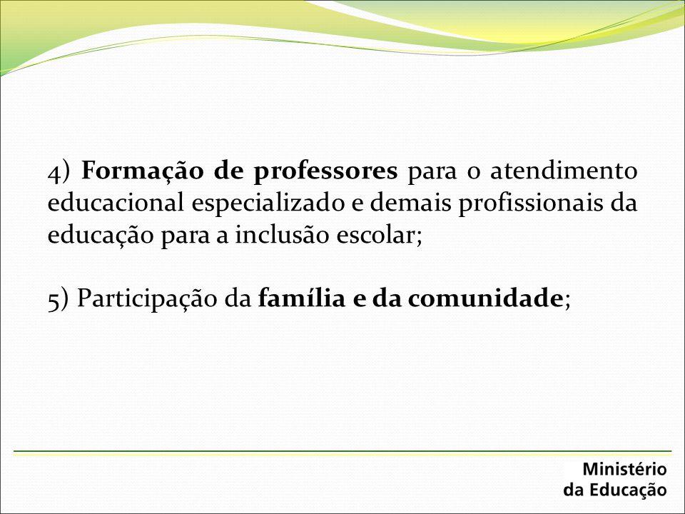 4) Formação de professores para o atendimento educacional especializado e demais profissionais da educação para a inclusão escolar;