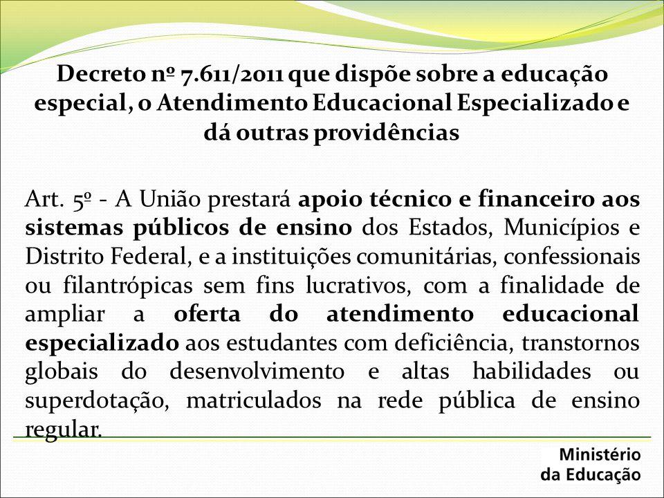 Decreto nº 7.611/2011 que dispõe sobre a educação especial, o Atendimento Educacional Especializado e dá outras providências