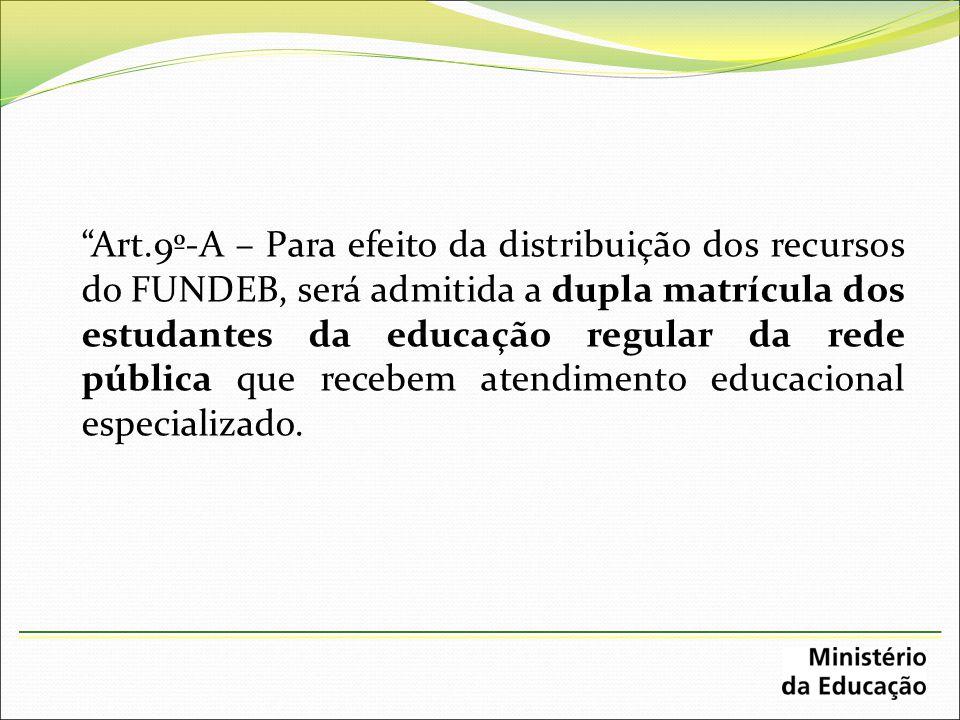 Art.9º-A – Para efeito da distribuição dos recursos do FUNDEB, será admitida a dupla matrícula dos estudantes da educação regular da rede pública que recebem atendimento educacional especializado.