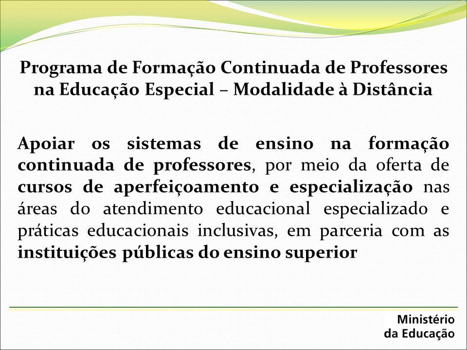 Programa de Formação Continuada de Professores na Educação Especial – Modalidade à Distância