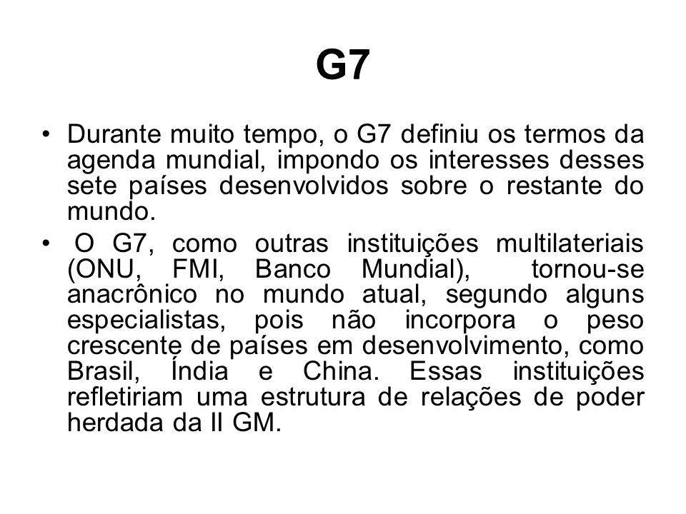 G7 Durante muito tempo, o G7 definiu os termos da agenda mundial, impondo os interesses desses sete países desenvolvidos sobre o restante do mundo.
