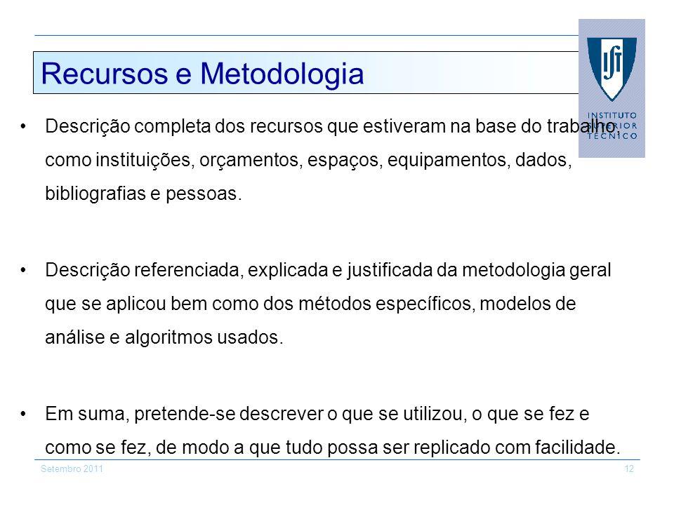 Recursos e Metodologia