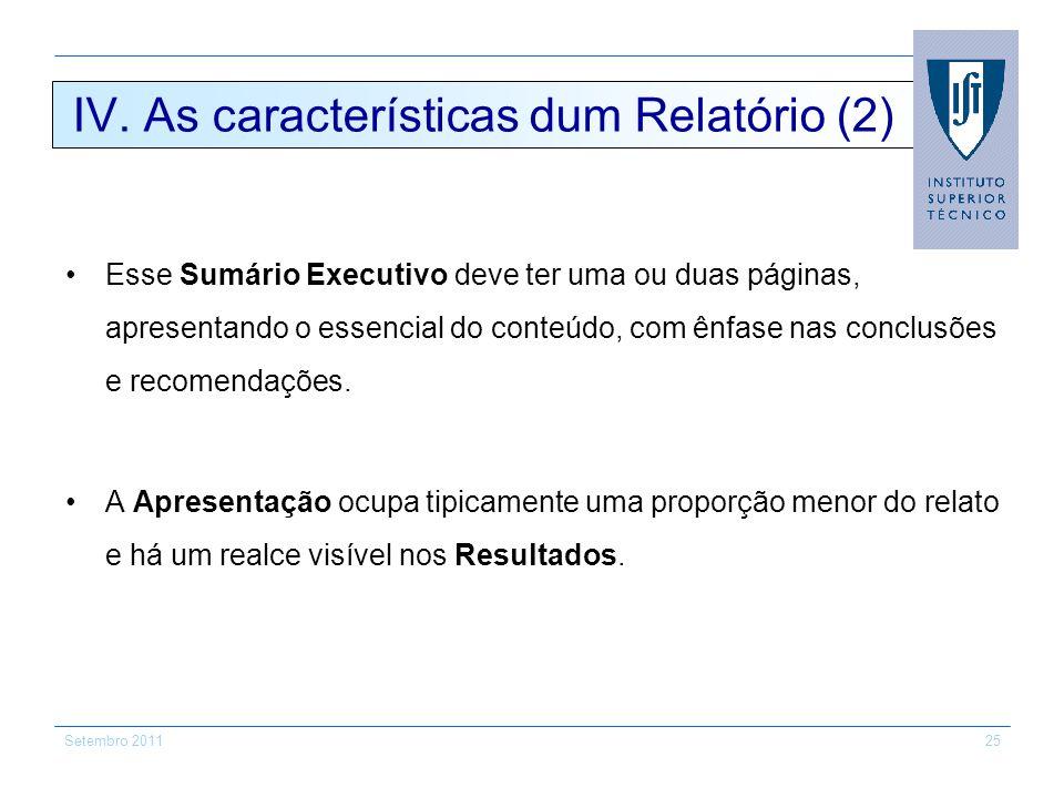 IV. As características dum Relatório (2)