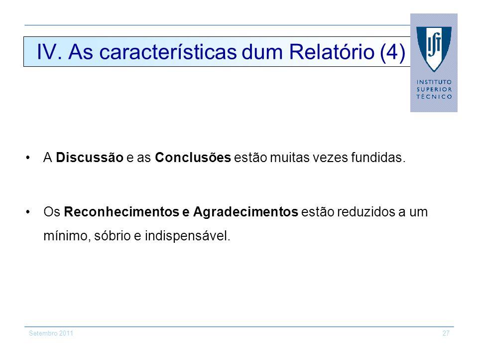 IV. As características dum Relatório (4)