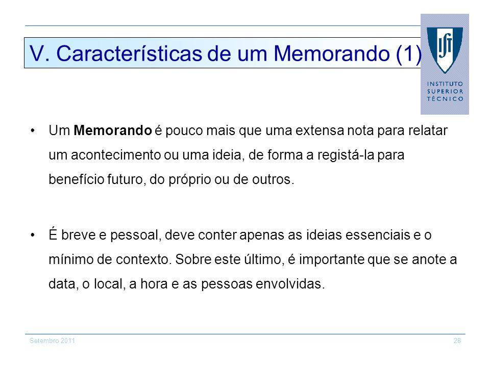 V. Características de um Memorando (1)